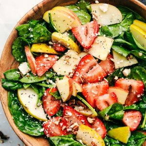 Strawberry, Apple, and Pear Spinach Salad with a Apple Cider Poppyseed Dressing